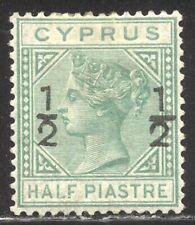 Cyprus #18 Mint - 1884 1/2pi on 1/2pi Green ($190)
