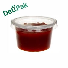 Plastic Food Containers With Lids Round Deli Pots Microwavable Clear Sauce