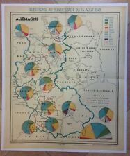 GERMANY POLITICAL MAP IN 1949 20e CENTURY LARGE ORIGINAL MAP
