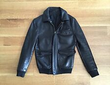 BLK DNM Women's Black Leather Bomber Motorcycle Jacket L Large $995 6 8 22