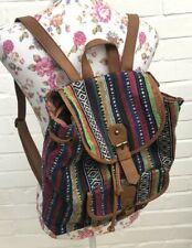 Tapestry Back Pack Bag Tan Faux Leather Festival School Holiday Handbag