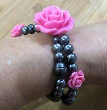2 Strand Layered Handmade Bracelet Stretch Pink Rose Gray Cultured Pearls Bead
