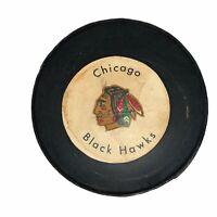 Vintage Chicago Blackhawks NHL Rawlings Hockey Puck Canada Black Hawks