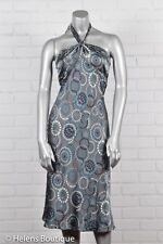 Laundry by Shelli Segal womans dress size 8 silver gray circles halter silk sexy