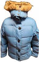 LL Bean Blue 80/20 Goose Down Puffer Jacket Faux Fur Hood Full Zip Women's Sz S