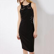 Karen Millen Black Lace Cutwork Cutout Midi Fitted Pencil Dress US 4 / UK 8