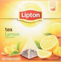 Lipton Black Tea - Lemon - Premium Pyramid Tea Bags (20 Count Box) [PACK OF 3]