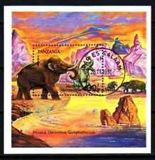 Animaux préhistoriques Tanzanie (10) bloc oblitéré