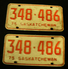 VINTAGE 1975  SASKATCHEWAN CANADA EXPIRED LICENSE PLATE SET 348-486