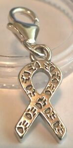 CLIP ON AWARENESS RIBBON WITH PET PAW PRINTS CHARM pendent sterling silver