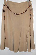 DRESSBARN Tan A-Line Godet Skirt w/Brown and Tan Beaded Belt Size 8
