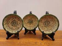"Set of 3 Temptations Ovenware by Tara Old World Green 5 3/4"" Dessert Bowls"