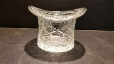VINTAGE FENTON LARGE BUTTON & DAISY CLEAR GLASS TOP HAT TRINKET  HOLDER
