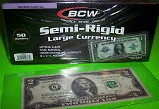 50 SEMI RIGID LARGE CURRENCY HOLDERS, 9 MIL, HOLDS UP TO 7 7/8 x 3 3/16 CURRENCY