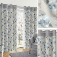 Blue Eyelet Curtains Duck Egg Floral Watercolour Ready Made Lined Ring Top Pairs