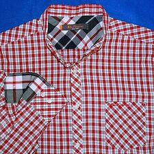 4 XL BEN SHERMAN RED GREEN CHECK GREY PLAID MENS SHIRT