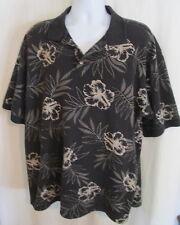 Breakwater BLACK floral cotton Hawaiian polo shirt XL *FREE SHIPPING* Nice