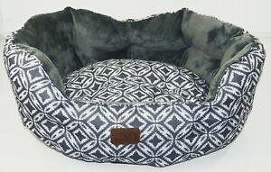 Bedsure Dog Bed Soft Grey Patterned Plush Oval Pet Sleep 60cm