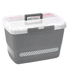 Große stabile Nähbox - Nähkoffer - Kunststoffbox (grau)   #17564