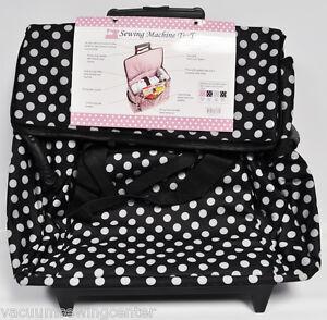 Sewing Machine Trolley Black and White Polka Dot
