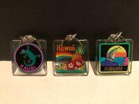 3~Vintage Hawaii Kauai Gecko, Sailboat, Pineapple Rainbow Hibiscus Keychains
