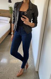 Just Jeans Black Genuine Leather Slim Fit Jacket, Nina Proudman Style, Size 10