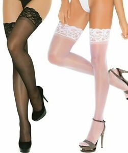 Hosiery Stay Up Thigh Highs Sheer Lace Top Stockings 2Pack O/S