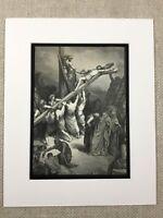 Jesus Christ on the Cross Crucifixion Dore Bible Art Engraving Antique Print