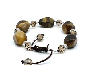 Natural Tiger Eye Chunks, Brown & Clear Crystals Expandable Bracelet