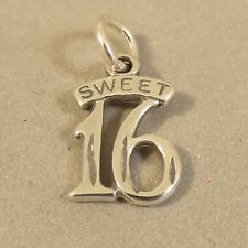 .925 Sterling Silver Plain SWEET 16 CHARM NEW Delicate Birthday Sixteen 925 BD08