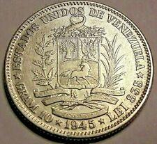 1945 Venezuela 2 Bolivares MS 64 Silver Coin Libertador