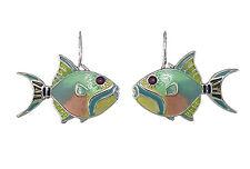 Enamel Dangle Earrings By Zarah Sue Coccia Queen Triggerfish Ultrafine Fish