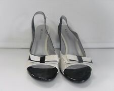 CL BY LAUNDRY Black White Open Toe Sling Back Bow Accented Slim Heels Sz 9 B4571