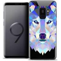 "Coque Housse Etui Pour Samsung Galaxy S9 (5.8"") Polygon Animal Souple Fin Loup"