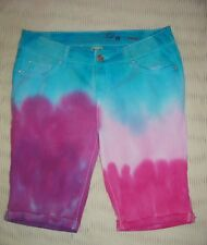 S SHORTS JEAN BERMUDA 6 TIE DYE RAINBOW PINK PURPLE BLUE WALKING VACA HIPPY FUN