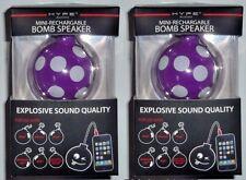 Lot of 2 Hype Bomb Rechargeable Mini Portable Keychain Speaker 3.5mm Purple Dots