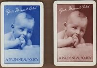 Playing Cards 2x Single Card Old PRUDENTIAL INSURANCE BABY Advertising FINANCE 3