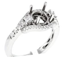 Diamond Ring Setting 0.62ct Engagement 3 Stone Semi Mount 18k White Gold