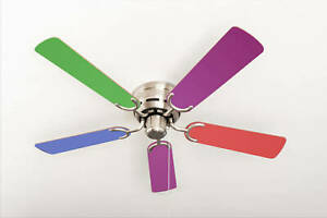 """Flush mount ceiling fan with pull chain Kisa Multicolor / Nickel 105 cm 42"""""""