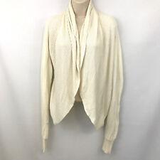 Worthington Ivory Draped Open Front Waterfall Cardigan Sweater Large