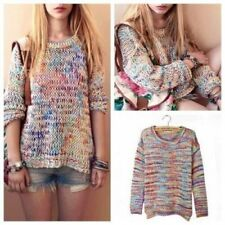 Women Girls Rainbow Round Neck Long Sleeve Pullover Jumper Sweater Knitwear