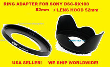 ADAPTER RING+FLOWER LENS HOOD 52mm AptTo CAMERA SONY DSC-RX100M2 RX100M3 RX100M4