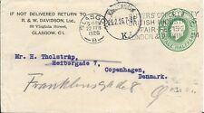 1926 Embossed Half Penny Commercial Envelope Glasgow to Denmark Redirected