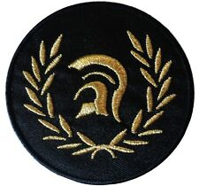 Black Trojan Laurel Scooter Rider Scooterist Iron/ Sew On Embroidered MODS Patch