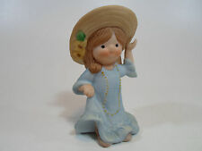 Country Cousins Figurines Enesco Vintage Porcelain Country Girl with hat