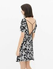 NWT $325 Womens Size 1 Sandro Deep V Back Dress Black White Print