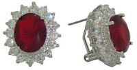 Princess Kate & Diana Ruby Red Earrings Swarovski Element Stones White Goldplate
