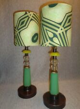 "08:46 G.F. ""Prairie School"" Vintage Jadeite Glass Art Deco Lamps"