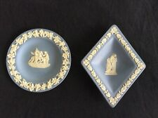 Vintage Wedgwood Jasper ware, round & diamond jewelry tray. Made in England