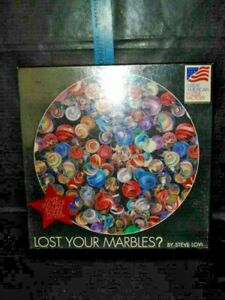 "Great American Puzzle Factory ""Lost Your Marbles?"" 500 Piece Round Puzzle NEW"